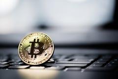 Golden Bitcoin money on computer. Stock Image