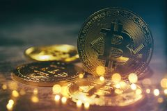 Golden Bitcoin over black background. Business concept. Royalty Free Stock Photos