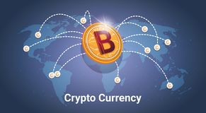Golden Bitcoin Over World Map Digital Crypto Currency Modern Web Money. Vector Illustration Royalty Free Stock Image