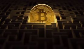 Golden Bitcoin placed somewhere in the maze. Cryptocurrencies lost in the maze of adverse law. 3D rendering. Golden Bitcoin placed somewhere in the maze royalty free illustration