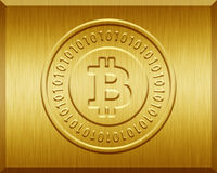 Golden Bitcoin Plate. Golden plate with bitcoin logo stamp Royalty Free Stock Photo