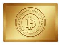 Golden Bitcoin Plate. Golden plate with bitcoin logo stamp on it and clippingpath for white background removal Stock Image