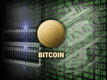 Golden bitcoin on server and digital code background.  royalty free stock photos