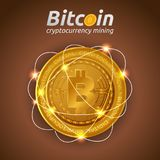 Golden Bitcoin in shining light effect on dark background Royalty Free Stock Photos