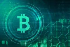 Golden bitcoin sign and logo stock photo