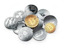 golden bitcoin and the stack of different cryptocurrencies vector illustration