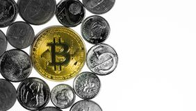 Golden Bitcoin surrounded by coins from various countries, on wh. Ite background. Flat lay with copy space Royalty Free Stock Photo