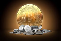 Golden bitcoin surrounded by silver ethereum coins on gently lit dark background. 3D rendering. Ethereum growth, bitcoin strong position concept vector illustration