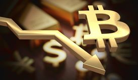 Golden bitcoin symbol and arrow down. 3D rendered illustration.  Stock Image