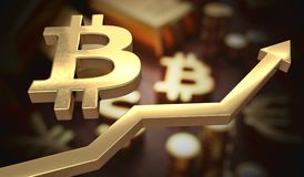 Golden bitcoin symbol and arrow up. 3D rendered illustration.  Stock Photos