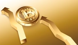 Golden bitcoin symbol and arrow up. 3D rendered illustration. Golden bitcoin symbol and arrow up royalty free illustration