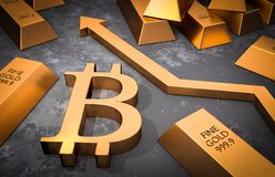 Golden bitcoin symbol and golden arrow up Royalty Free Stock Image