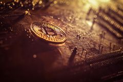 Golden bitcoin token on a computer interface royalty free stock images