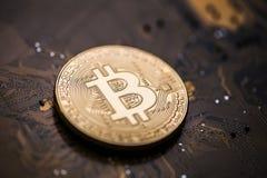 Golden bitcoin token on a computer interface motherboard royalty free stock photo