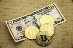 Golden Bitcoin on US dollar bills. Electronic money exchange concept, 3D illustration. Golden Bitcoin on US dollar bills. Electronic money exchange concept, Bit Royalty Free Stock Photography