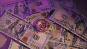 Golden bitcoin on us dollar bills electronic money exchange concept. Bitcoin lies on dollars. White smoke 60fps stock video