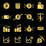 Golden bitcoin vector icon collection. Collection of 16 vector isolated cryptocurrency bitcoin elements in gold design on black background. Ideal for company Stock Photography