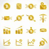 Golden bitcoin vector icon collection. Collection of 16 vector isolated cryptocurrency bitcoin elements in gold design on white background. Ideal for company Royalty Free Stock Images