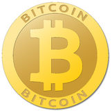 Golden bitcoin virtual currency. Stock Photo
