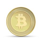 Golden bitcoin Stock Photo