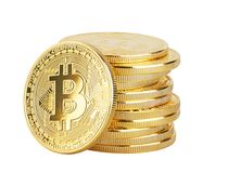 Golden Bitcoin on white background Stock Photography