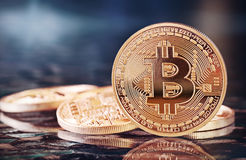 Golden Bitcoins Stock Photography
