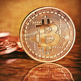 Golden Bitcoins. Photo Golden Bitcoins (new virtual money stock photography