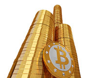 Golden Bitcoins Stock Photography