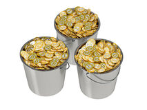Golden Bitcoins in a Bucket Royalty Free Stock Image