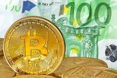 Golden Bitcoins . Royalty Free Stock Photography