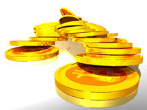 Golden Bitcoins. Computer generated photo of a Bitcoin electronic currency Royalty Free Stock Photo