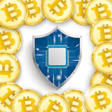 Golden Bitcoins Cover White Centre Protection Shield Stock Photo