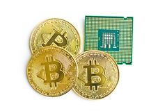 Golden bitcoins and CPU. royalty free stock photography