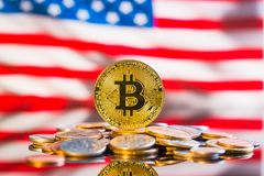 Golden bitcoins. Cryptocurrency. stock photo