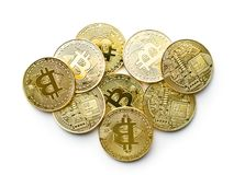 Golden bitcoins. Cryptocurrency. stock photography