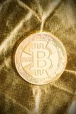 Golden bitcoins. Digital cryptocurrency. Stock Images