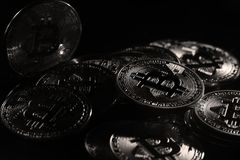 Bitcoins. Golden Bitcoins digital currency, financial industry, Black background royalty free stock photography