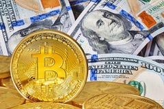 Golden Bitcoins . Royalty Free Stock Image