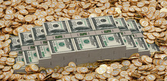 Golden Bitcoins and Dollars Stock Image