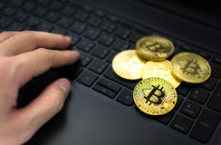 Golden Bitcoins and hand on computer keyboard background. Golden Bitcoins and hand on computer keyboard Stock Image
