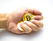 Golden bitcoins in hand. Digital symbol of a new virtual currency on white background. Golden bitcoins in hand. Digital symbol of a new virtual currency Stock Images