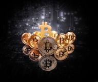 Conceptual image for crypto currency. Golden bitcoins heap. Conceptual image for crypto currency Royalty Free Stock Photography