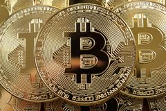 Golden bitcoins heap Royalty Free Stock Photography