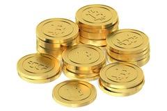 Golden Bitcoins Stock Photos
