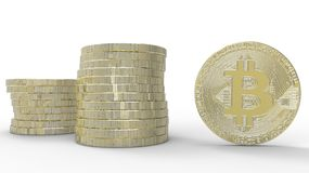 Golden Bitcoins isolated on white background. 3d illustration. Golden Bitcoins isolated on white background Stock Images