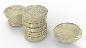 Golden Bitcoins isolated on white background. 3d illustration. Golden Bitcoins isolated on white background Royalty Free Stock Photography