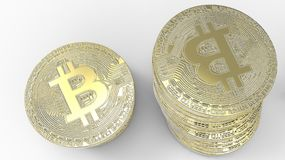 Golden Bitcoins isolated on white background. 3d illustration. Golden Bitcoins isolated on white background Royalty Free Stock Photo