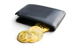 Golden bitcoins in leather wallet. Stock Image