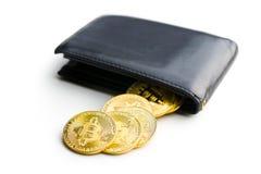 Golden bitcoins in leather wallet. Golden bitcoins in leather wallet isolated on white background Stock Image