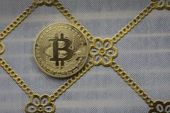 Golden Bitcoins. New virtual money. royalty free stock images